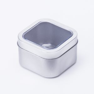 Square Silver Tin with window